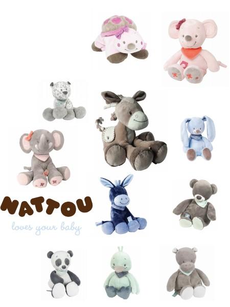 Nattou plüss játék több méretben és figurával