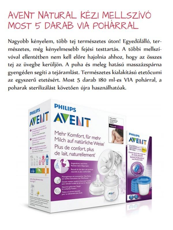 Avent Natural kézi mellszívó +5db via pohár